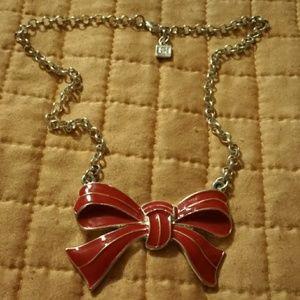 """Jewelry - 16"""" SILVER TONE RED ENAMEL BOW CHOKER"""